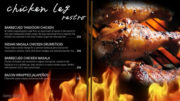 chicken restaurant digital template Digitale display (16:9)