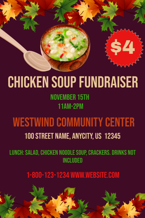 Chicken Soup Fundraiser Template | PosterMyWall