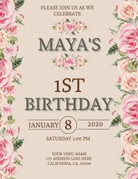 Child's 1st Birthday Invitation Template