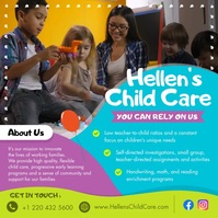 Child Care About Us Instagram Video Carré (1:1) template