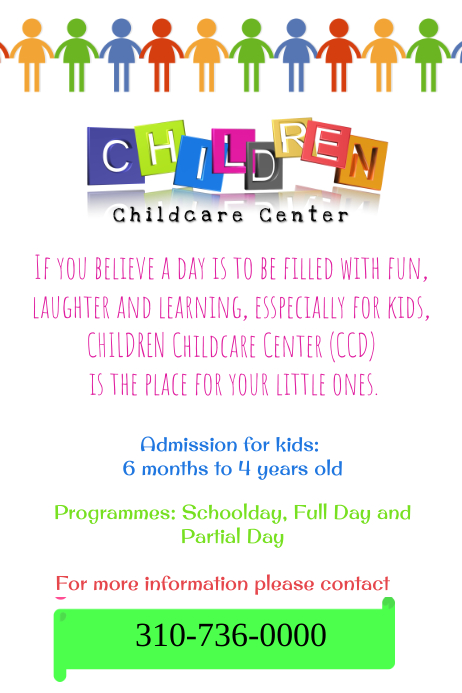 Marketing Childcare Poster: Child Care Center Template