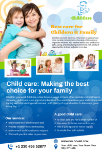 child care flyer Tumblr Graphic template