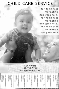 child care service printable poster template with tear off