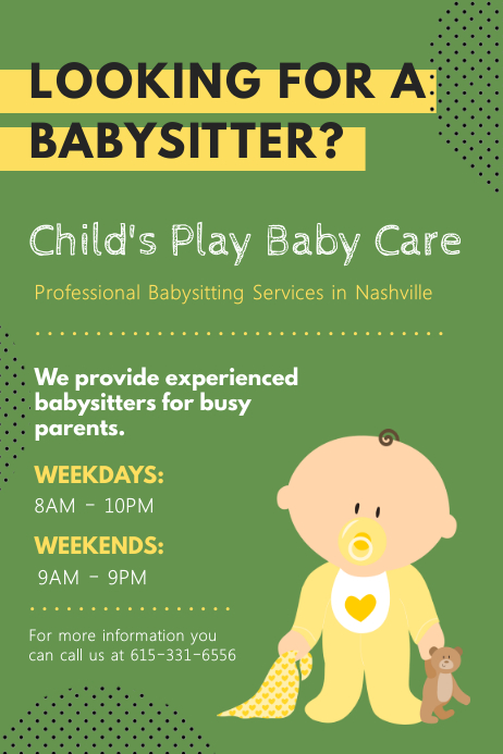 picture relating to Free Printable Daycare Flyers named Babysitting Flyers