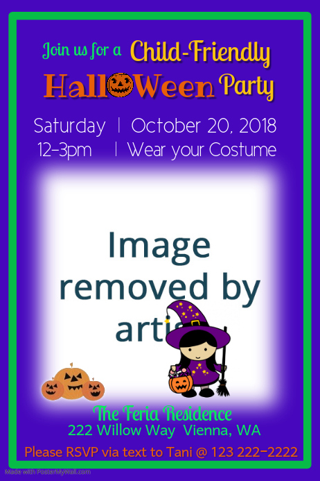 Child Friendly Halloween Party Flyer Template