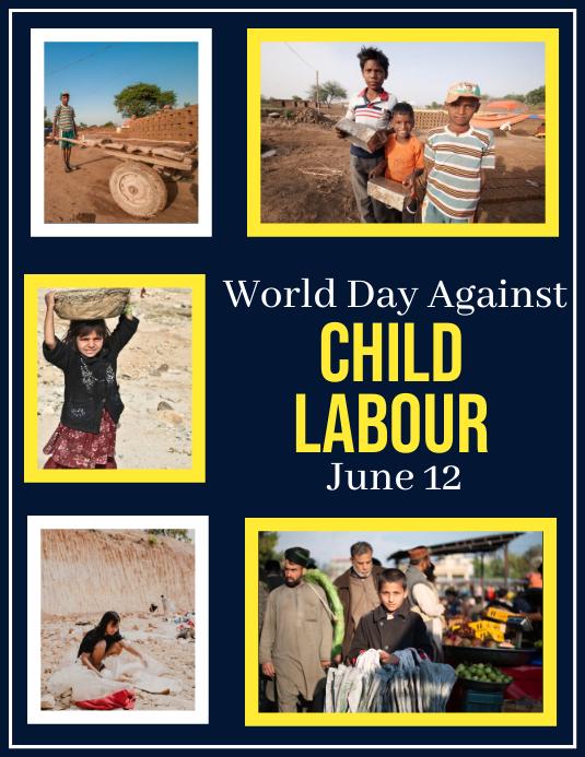 Child Labor, World day against Child Labor 传单(美国信函) template