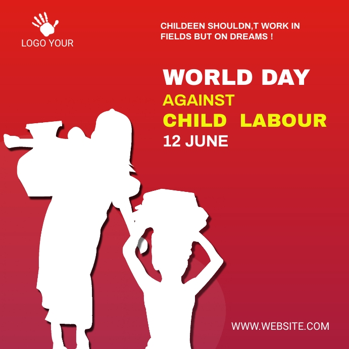 child labor day social media post 方形(1:1) template