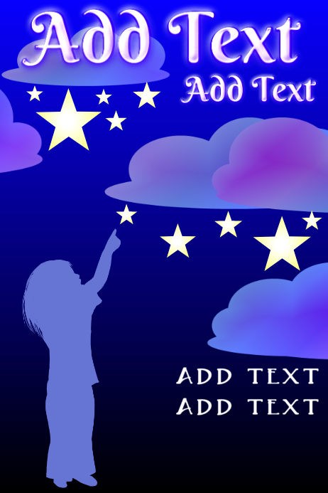 child pointing at nightsky - Blue clouds and stars