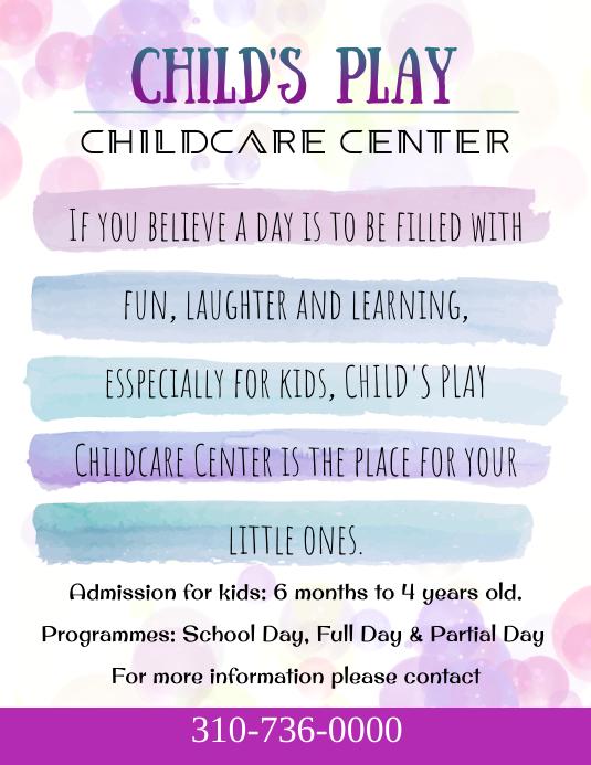 Childcare Center, Preschool Advertisement Flyer