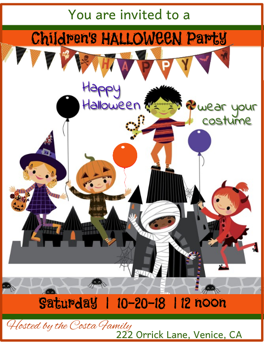 Children's Halloween Party Flyer Template