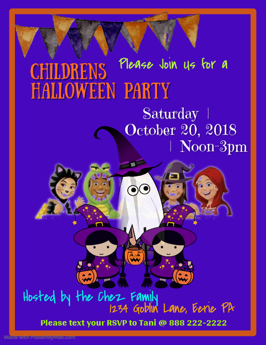 Children's Halloween Party Flyer Template