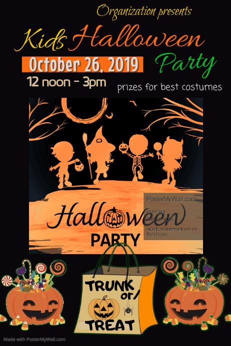 Halloween Poster Art.Children S Halloween Party Poster Template Postermywall