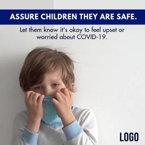 Children Corona Virus Safety tips Mask Instagram-Beitrag template