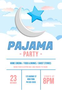 children pajama sleepover party flyer template
