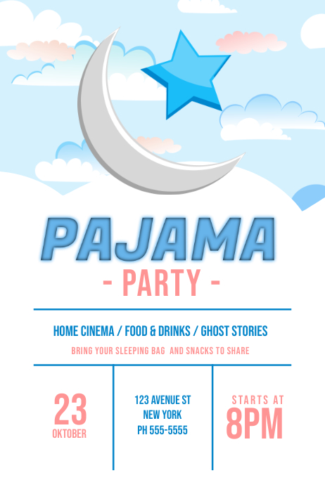 children pajama sleepover party flyer template postermywall