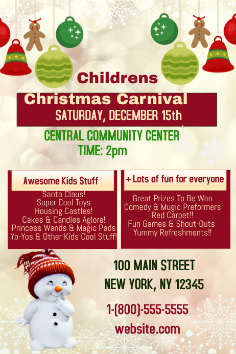 Christmas Carnival Poster.Childrens Christmas Carnival Template Postermywall