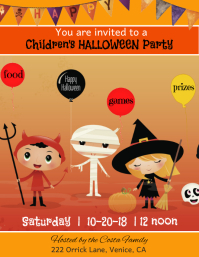 Childrens Halloween Party Flyer template