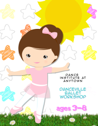 childrens preschool kids dance class flyer template