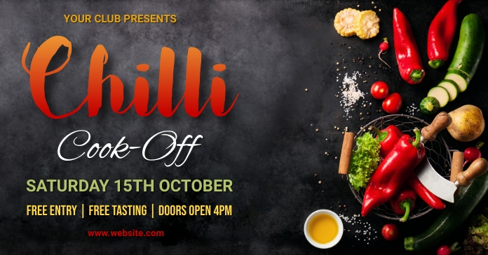 Chilli cook off,event,festival,contest Facebook Shared Image template