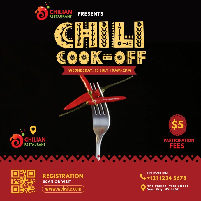 Chili Cook-Off Event Video Post 方形(1:1) template