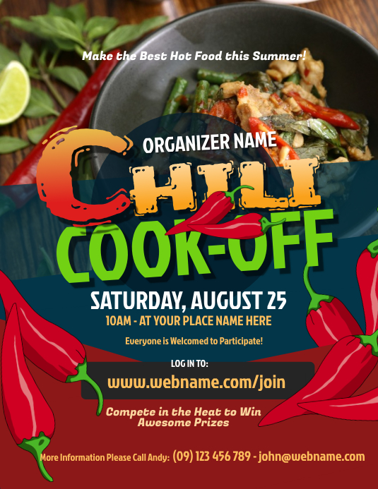 Chili Cook-Off Flyer 传单(美国信函) template