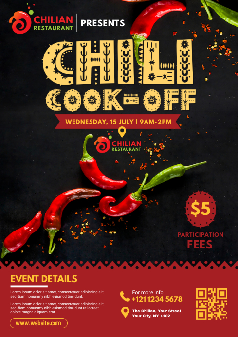 Chili Cook-Off Flyer A4 template