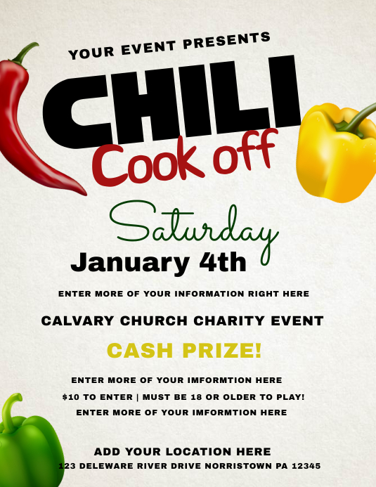 chili cook off Flyer (Letter pang-US) template