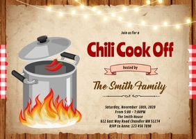 Chili Cook Off party invitation A6 template