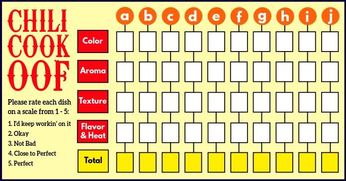 Chili Cook Off Rate Scale Sheet Template Изображение, которым поделились на Facebook