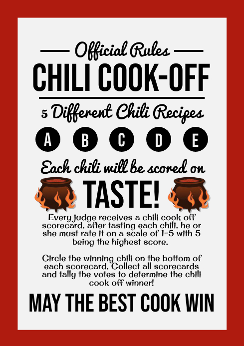 Chili Cook Off Score Rules Template A4