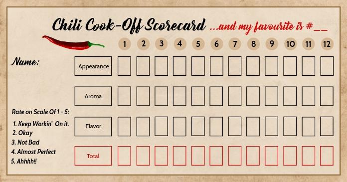 Chili Cook Off ScoreCard Template Изображение, которым поделились на Facebook