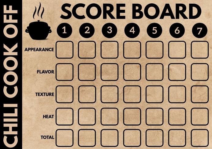Chili Cook Off Scorecard Template A4