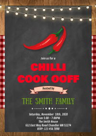 Chili cookoff party theme invitation