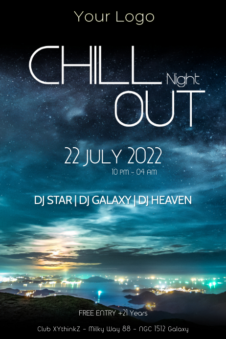 Chillout music Party Night Lounge Bar Club ad Poster template