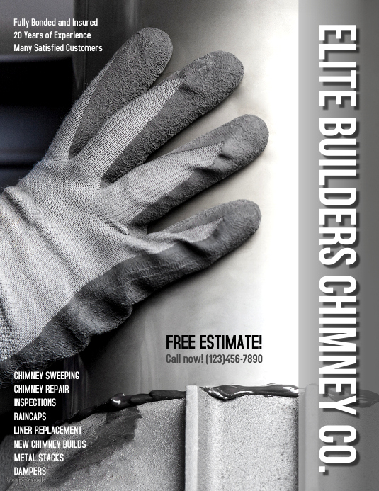 Chimney Repair Cleaning Replacement Services Flyer ad