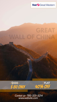 China travel package flyer template Historia de Instagram