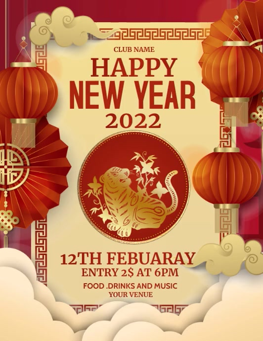Chines new year, Chinese 2021 Volante (Carta US) template