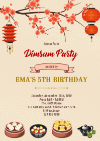 Chinese dimsum birthday invitation A6 template
