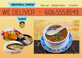 chinese food/asian/restaurant/menu/postcard Poskaart template