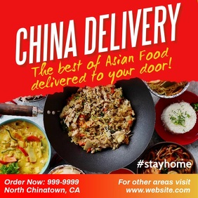Chinese food restaurant food delivery ad Instagram Post template