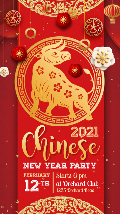 chinese new year, chinese new year party เรื่องราวบน Instagram template