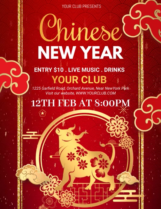 chinese new year, chinese new year video Volante (Carta US) template