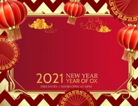 Chinese new year, new year Flyer (Letter pang-US) template