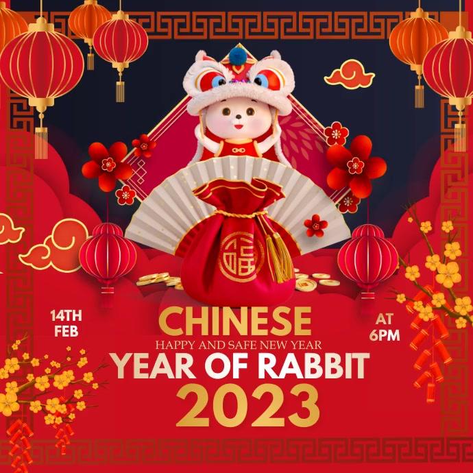 Chinese new year, new year Persegi (1:1) template