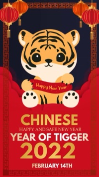 Chinese new year, new year Instagram na Kuwento template