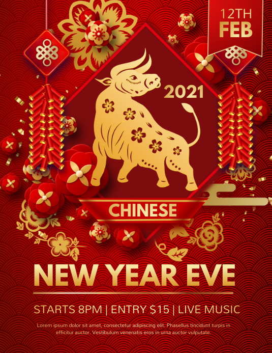 chinese new year, new year Flyer (US-Letter) template
