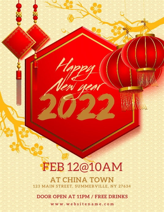 Chinese New Year Celebration Flyer Volante (Carta US) template