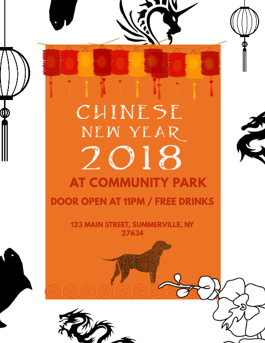 Chinese New Year Celebration Flyer Template Løbeseddel (US Letter)