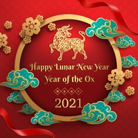 Chinese new year greeting Instagram 帖子 template