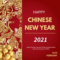 Chinese new year greetings Instagram Post template